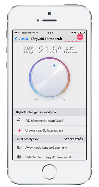 Taphome app Thermostat m